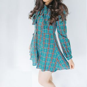 Zara PLAID Neck Bow Dress: with Buttons